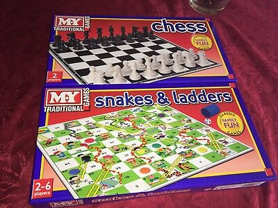 M.y Chess & Snakes And Ladders Traditional Board Games Family Fun