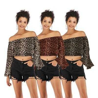 Long Flare Sleeve Leopard Women Lady Crop Tops Boat Neck Strapless Sexy Clothes