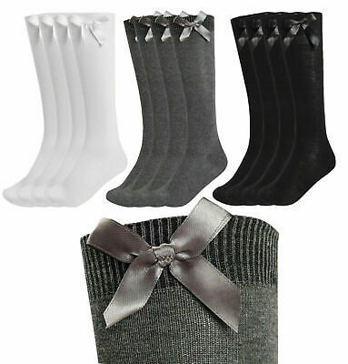 New Girls 1,4,6 Pack Value Knee High Bow Detail Back 2 School Cotton Rich Socks