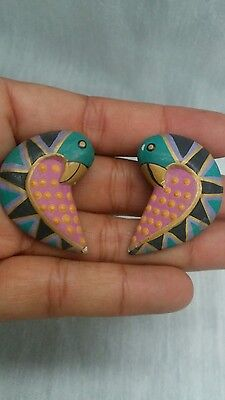 Early vintage Laurel Burch hand painted wood bird clip  on earrings some wear