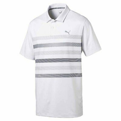 NWT Puma Golf Men's Center Stripes Polo Bright White-Peacoat You Pick Size $65