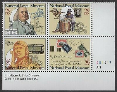 #2779-2782 - 29¢ National Postal Museum- MNH Plate Block of 4 - Face Value $1.16