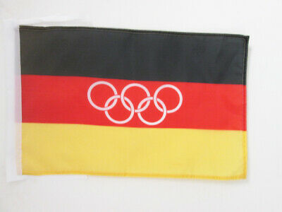 UNIFIED TEAM OF GERMANY 1960-1968 FLAG 18'' x 12'' cords - GERMAN OLYMPIC SMALL