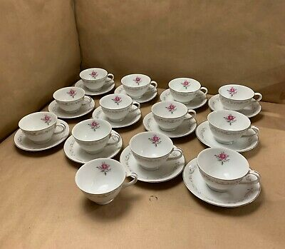 25 Piece Vintage Royal Swirl Pink Rose Japan Fine China Tea Cups and Saucers