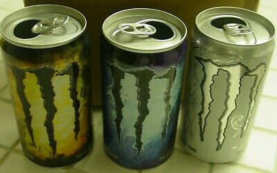 Monster Energy Drink 8 fl oz & 7.5oz MINI Cans.Lot of 3 EMPTY Cans. 2015 & 2016