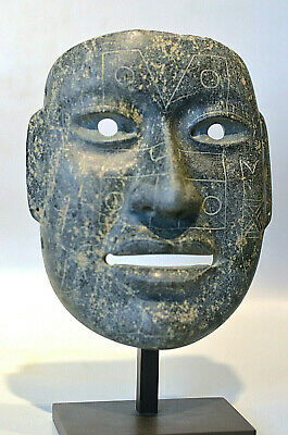 Pre Columbian Olmec Glyphed Jade Mask... Documented
