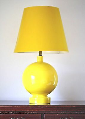 Vintage Large Yellow Ceramic Orb Table Lamp Mid Century Mod Lotte Style