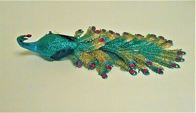 Holiday Lane Blue Peacock Clip On Christmas Ornament Created for Macy's