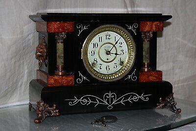 "SETH THOMAS Mantel Antique Clock c/1904- Model ""SPARTA"" Totally  RESTORED --"