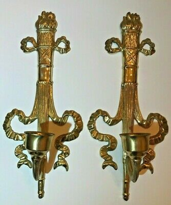 Vintage Brass Wall Sconce Bow Ribbon Flame Torch Ornate Taper Candle Holders Set