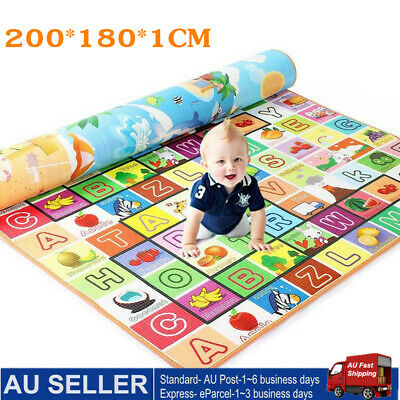 2 x 1.8m Large Baby Kids Floor Play Mat Rug Picnic Cushion Crawling Double Sides