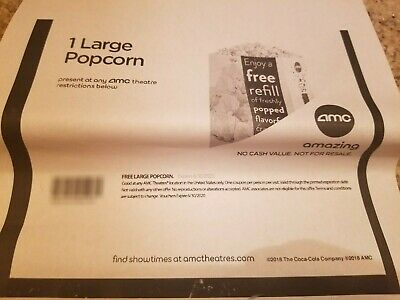 AMC Theaters: 1 Large Popcorn - Email Delivery (Expires 6/30/2020)