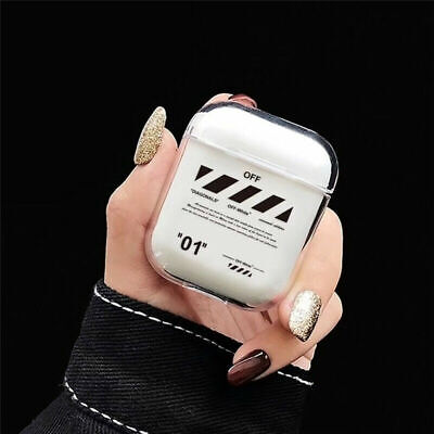 """Off White """"01"""" Airpods Case For Apple Airpods 1 Plastic Protective Case"""