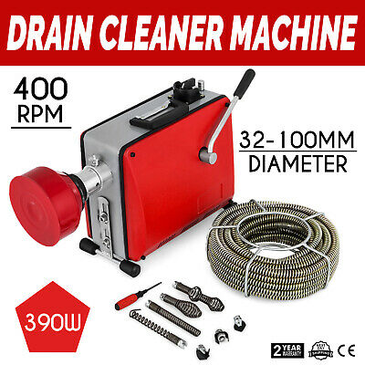 "1.25-4"" 390W Electric Drain Pipe Cleaning Machine 6mx9mm 12.5mx16mm Spirals 230V"