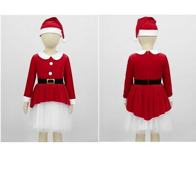 Kids Girls Christmas Dress Xmas Costume Children Holiday Outfits Party Set +Hat