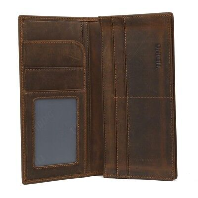 Men's Real Leather Bifold Long Wallet ID Card Cash Holder Checkbook Ticket Purs
