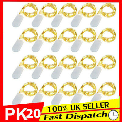 20 Pack 10 LED Battery Micro Rice Wire Copper Fairy String Lights Party Decor 1M