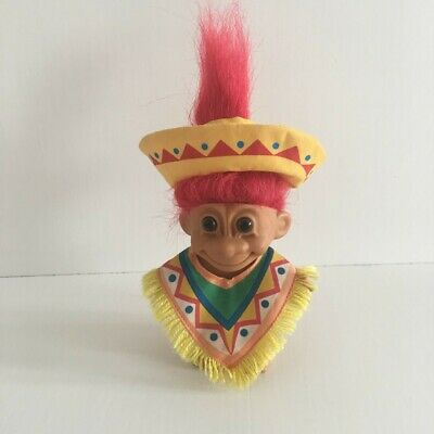 Vintage Russ Mexican Troll Doll With Red Hair Retro Toys 90's Collectable