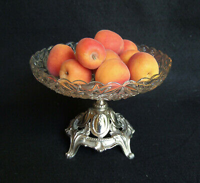 Antique French art nouveau glass tazzer bowl center piece 1900's