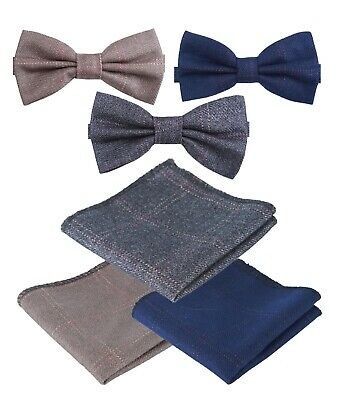 Kids Boys Mens Matching Check Tweed Dickie Bow Tie & Handkerchief Hankie Set