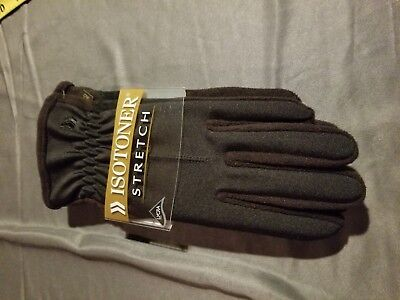 NWT Women's ISOTONER  STRETCH LEATHER GLOVES Black