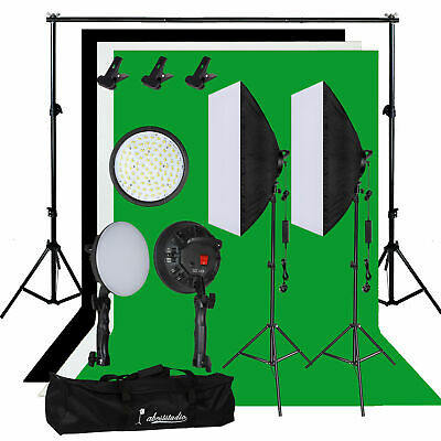 Photography Studio 60W LED Softbox Video Lighting Kit Backdrop Background Stand