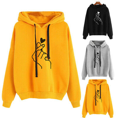 Womens Baggy Hooded Sweatshirt Ladies Long Sleeve Hoodies Blouse Pullover Tops