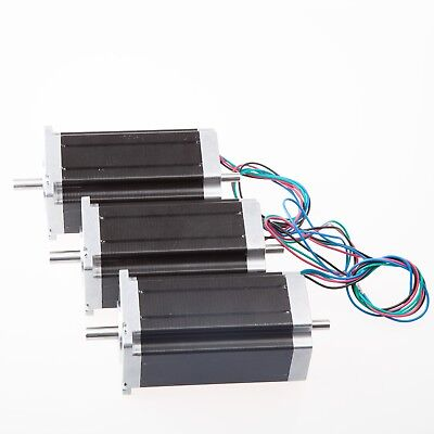 【Free Ship】3 pcs Nema 23 dual shaft stepper motor 425 oz.in 3.0A for CNC Mill