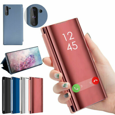 Smart Leather Flip Mirror Phone Case Cover For Samsung Galaxy Note 10 Plus S9 S8