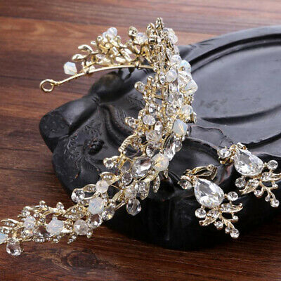 Pearl Bridal Crown Handmade Tiara Bride Headband Crystal Rhinestone Wedding Hoop