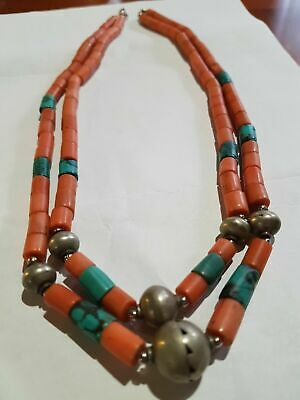 Antique Necklace of Red Coral with Turquoise