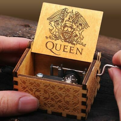 Retro Music Box Wooden Engraved Queen love Mom Dad Kids Christmas Gift Toys New