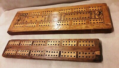 Two Antique Cribbage Boards No Pegs