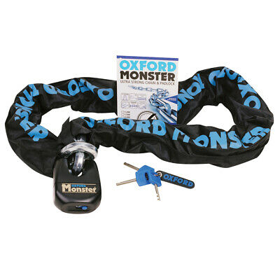Oxford Monster 14mm Hex Ultra Strong Motorcycle Motorbike Chain & Padlock 1.2m