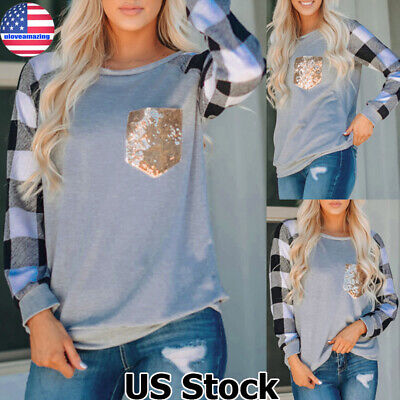 Womens Plaid Sequin Pocket Sweater Casual Jumper Pullover Sweatshirt Blouse US