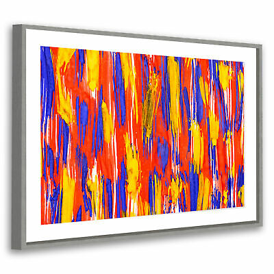 Yellow Blue Red Modern Abstract Grey Framed Wall Art Large Picture Prints