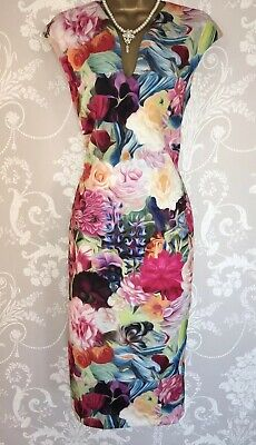 TED BAKER TIHA FLORAL,BUTTERFLY,BIRD MIDI DRESS BNWT UK 8 TED 1 USA 4 RRP£210.00