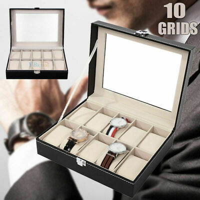 Leather Watch Jewelry Display Storage Holder Case 10 Grids Box Organizer Gifts