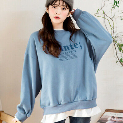 Women Letter Sweatshirt Loose Pullover Long Sleeve Fake Two Pieces Hoody Tops-