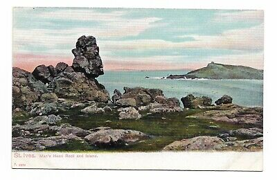 St Ives, Man's Head Rock & Island Cornwall Early 20th Century Postcard 611Q