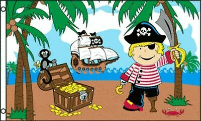 TREASURE ISLAND BOY FLAG 3' x 5' - PIRATE FLAGS 90 x 150 cm - BANNER 3x5 ft High
