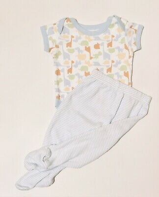 Mothercare George Baby Boys White Bodysuit Blue Bottoms 0-3 Months Short Sleeve