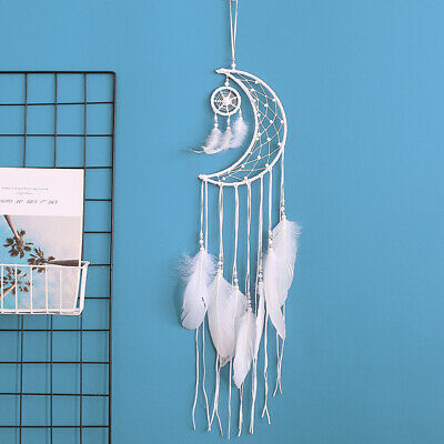 White Moon Dream Catcher Home Decor Wall Hanging Wedding Feather Pendant Gift AU