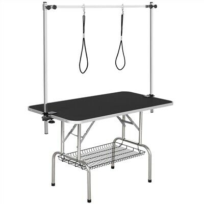 """48"""" Foldable Large Dog Cat Pet Grooming Table W/Arm & Noose & Non-slip Surface"""