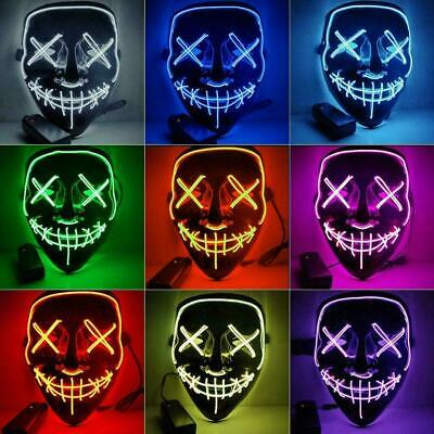 Light Up LED Stitches Mask Costume Halloween Rave Cosplay Purge Party Clubbing