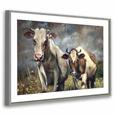 Grey Framed Animal Picture Wall Art Prints Brown White Green Cows