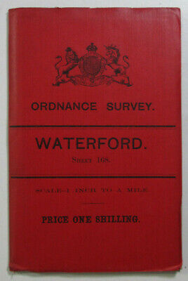 1898 Old OS Ordnance Survey Ireland One-Inch Second Edition Map 168 Waterford