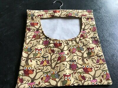 Hand Made Laundry Peg Bag With Wooden Hanger Canvas Fabric Beige Owls/Branches