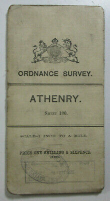1899 Old OS Ordnance Survey Ireland One-Inch Second Edition Map 106 Athenry