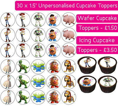 30 Toy Story Edible Wafer & Icing Cupcakes Toppers Birthday Party Woody Buzz